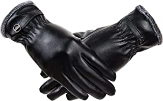 Winter Leather Gloves for Women, Super Soft Coral Fleece Lined Warm Gloves