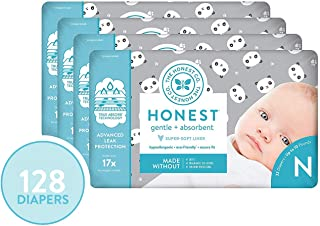 The Honest Company Diapers - Newborn, Size 0 - Pandas Print | TrueAbsorb Technology | Plant-Derived Materials | Hypoallergenic | 128 Count