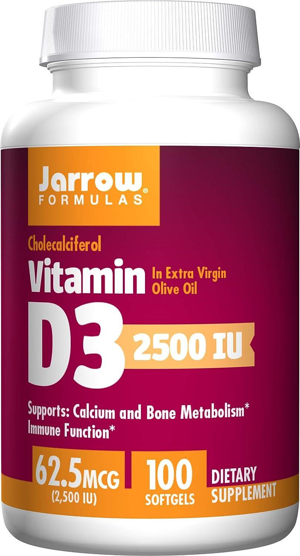 Jarrow Formulas Vitamin D3 unisex 2500 IU 100 Softgels - Bone Max 86% OFF Health