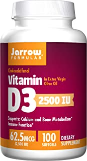 Jarrow Formulas Vitamin D3, Supports Calcium and Bone Metabolism, Immune Function, 2500IU, 100 Softgels (Pack of 2)