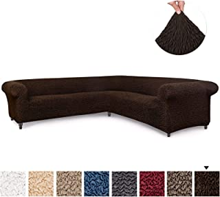 Sectional Sofa Cover - Corner Couch Cover - Corner Slipcover - Soft Polyester Fabric Slipcovers - 1-piece Form Fit Stretch Furniture Slipcover - Microfibra Collection - Dark Brown (Corner Sofa)