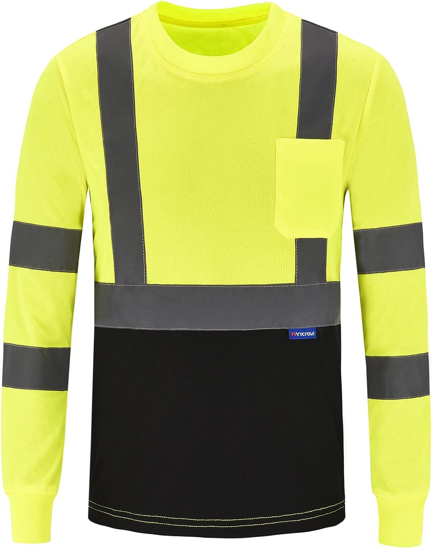 AYKRM Safety Ranking TOP3 T Shirt Max 85% OFF Reflective High Visibility Long Slee hi vis