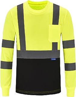 AYKRM Safety T Shirt Reflective High Visibility hi vis Long Sleeve T Shirt