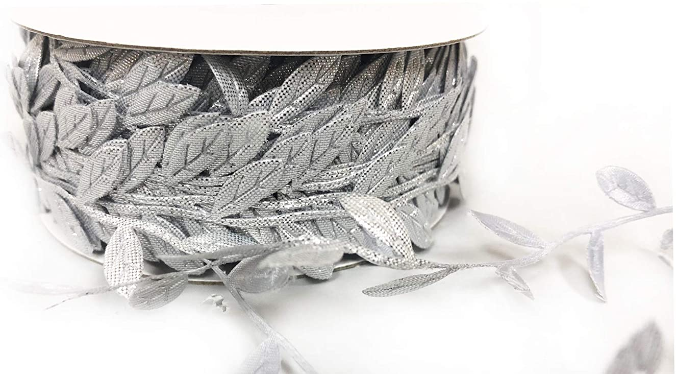 Leaf Garland Ribbon Trims, roll of 30 Yards, Great for Craft Making and Scrap Booking (Metallic Silver)