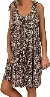 Women Sleeveless Tank Swing Dress, Leopard Lace Up Shoulder Pleated Sundress Loose Backless Mini Dresses