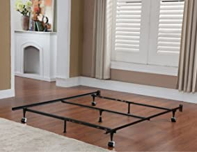 Kings Brand 7-Leg Super Duty Adjustable Metal Bed Frame (Queen/Full/Full XL/Twin/Twin XL) with Center Support Bar and Rug Rollers&Locking Wheels