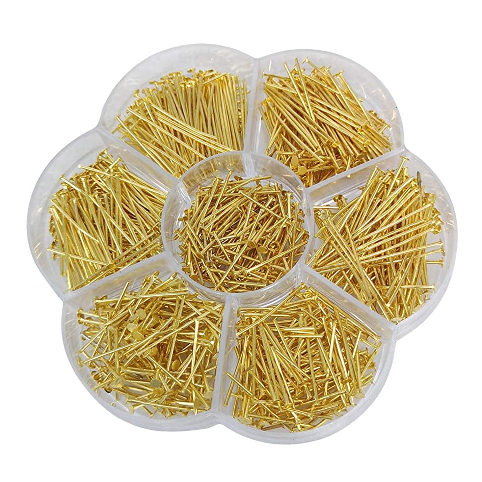 Chenkou Craft 700pcs Assorted of 7 Sizes Mix Flat Head Pins for Jewelry Making (Gold, Mix)