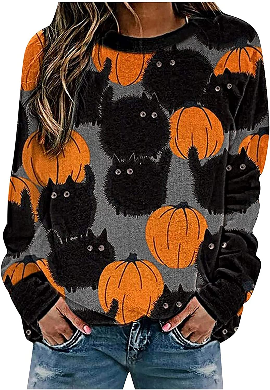 Halloween Women Tops Cute Pumpkin Ghost Black Cat Bat Print Casual Loose Long Sleeve Crewneck Pullover Sweaters Sweatshirts