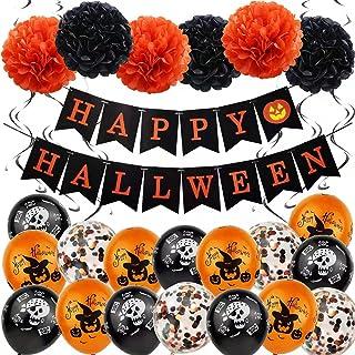 Pengpen Halloween Balloon Decorations-Halloween Party Balloons Kit Happy Halloween Balloons Banner Latex Balloons Swirls P...