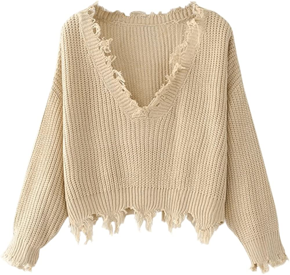 ZAFUL Women's Loose Long Sleeve V-Neck Ripped Pullover Knit Sweater Crop Top