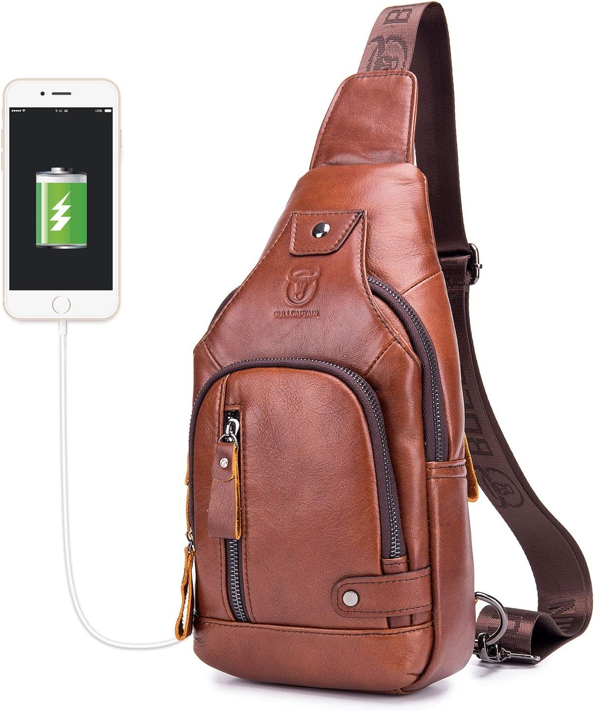 BULLCAPTAIN Genuine 新品未使用正規品 Leather Mens Sling Bag Travel C 定番スタイル Multipurpose
