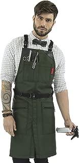 Under NY Sky Cross-Back Barber Green Apron – Heavy-Duty Nylon, Water and Chemical Resistant, Zipped Pockets, No-Tie, Split-Leg – Adjustable for Men, Women – Pro Hair Stylist, Salon, Colorist, Artist