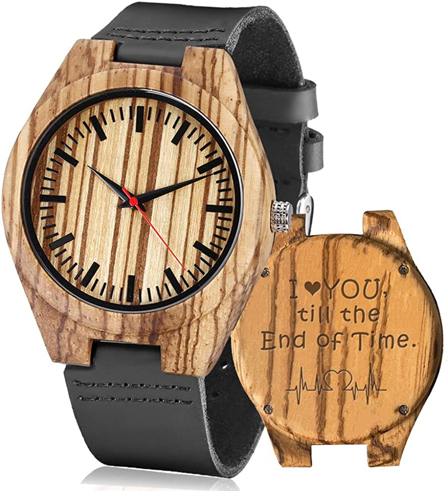 Engraved At the price of Inventory cleanup selling sale surprise Watches Wooden Personalized Customized Gifts W