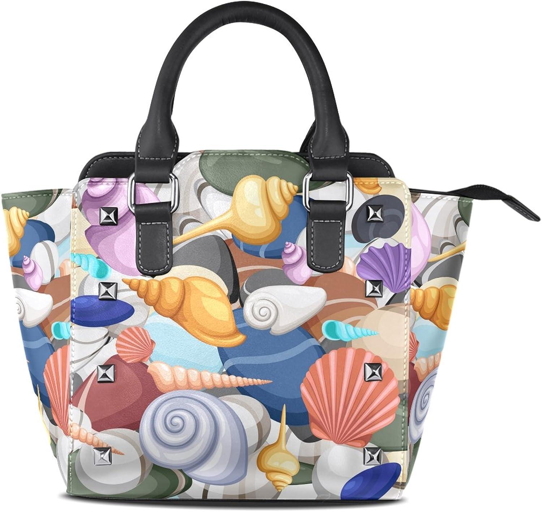 My Little Nest Women's Top Handle Satchel Handbag Sea Shells Ladies PU Leather Shoulder Bag Crossbody Bag