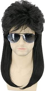 Topcosplay Mens Wigs Black 80s Mullet Wig Redneck Wig Punk Metal Rocker Disco Party Wig (Black Wavy)