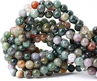 Qiwan 45PCS 8mm Indian Agate Gemstone Loose Beads Natural Round Crystal Energy Stone Healing Power for Jewelry Making 1 Strand 15