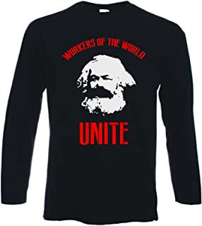 Tribal T-Shirts Men's Karl Marx Worker's of The World Unite Long Sleeve T-Shirt