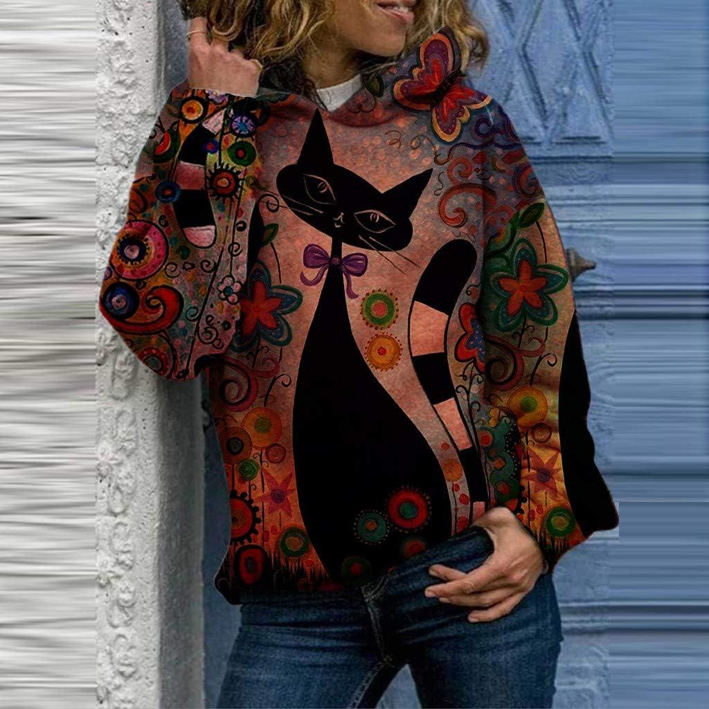 rarity Mode Frauen Sweatshirt Kapuze Tierdruck Langarm Pullover Blusen Sweatshirt Tops High Neck Hoody Pullover 3D Druck Hoodie Herbst Winter Warm Oberteil Vintage Strickjacke Rot