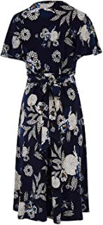 Bird by Design Womens Knee Length Dresses The Printed Jersey Wrap Dress Dahlia