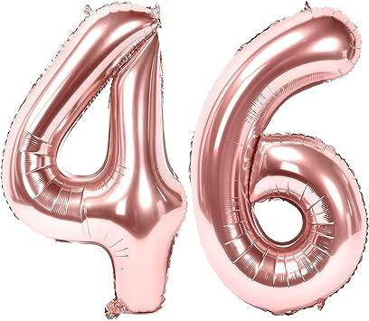 Oferta amazon: Siumir Globos de Numero Oro Rosa Número 46 Grande Globos de Cumpleaños Papel de Aluminio Globos Decoración de Fiestas de Cumpleaños Talla 46