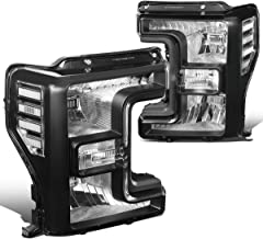 Pair Black Housing Front Bumper Headlight Lamps for Ford F250 F350 F450 F550 Super Duty 17-19
