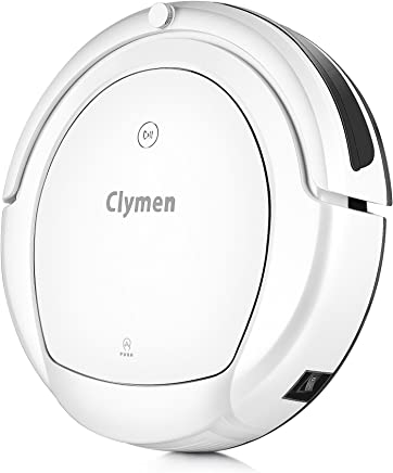 Clymen Q9 Robot Vacuum Cleaner with Voice Control, Robotic Vacuum Cleaner for Pets with 2D Navigation, Connects to WiFi and Work with Alexa App, UV Light for Disinfection, Powerful Suction, White
