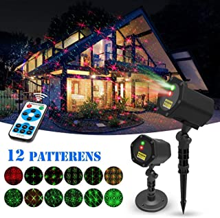 Christmas Laser Lights Halloween Starry Lights Red and Green Outdoor Garden Christmas Holiday Party Decoration Waterproof 5M Cable with RF Remote
