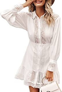 Conmoto Women's Sexy Long Sleeve Lace Ruffle Mini Dress Hollow Out Summer Dress
