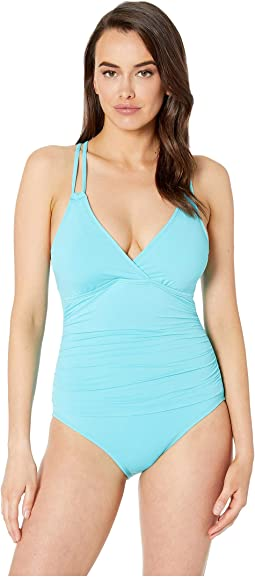 Island Goddess Surplice Mio One-Piece with Floating Underwire