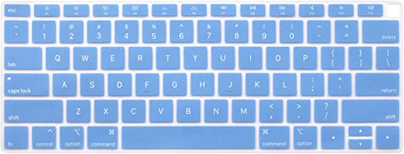Keyboard Cover Protective Skin Compatible US Version Newest MacBook Air 13 13.3 inch with Retina Display 2018 Release Model A1932 (Light Blue)