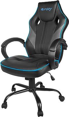 Fury Avenger M - Sedia da gaming da scrivania ergonomica con braccioli, altezza regolabile, ecopelle