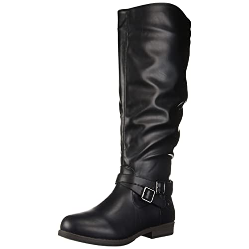 733032132513 Womens Regular and Wide-Calf Buckle Knee-High Ankle-Strap