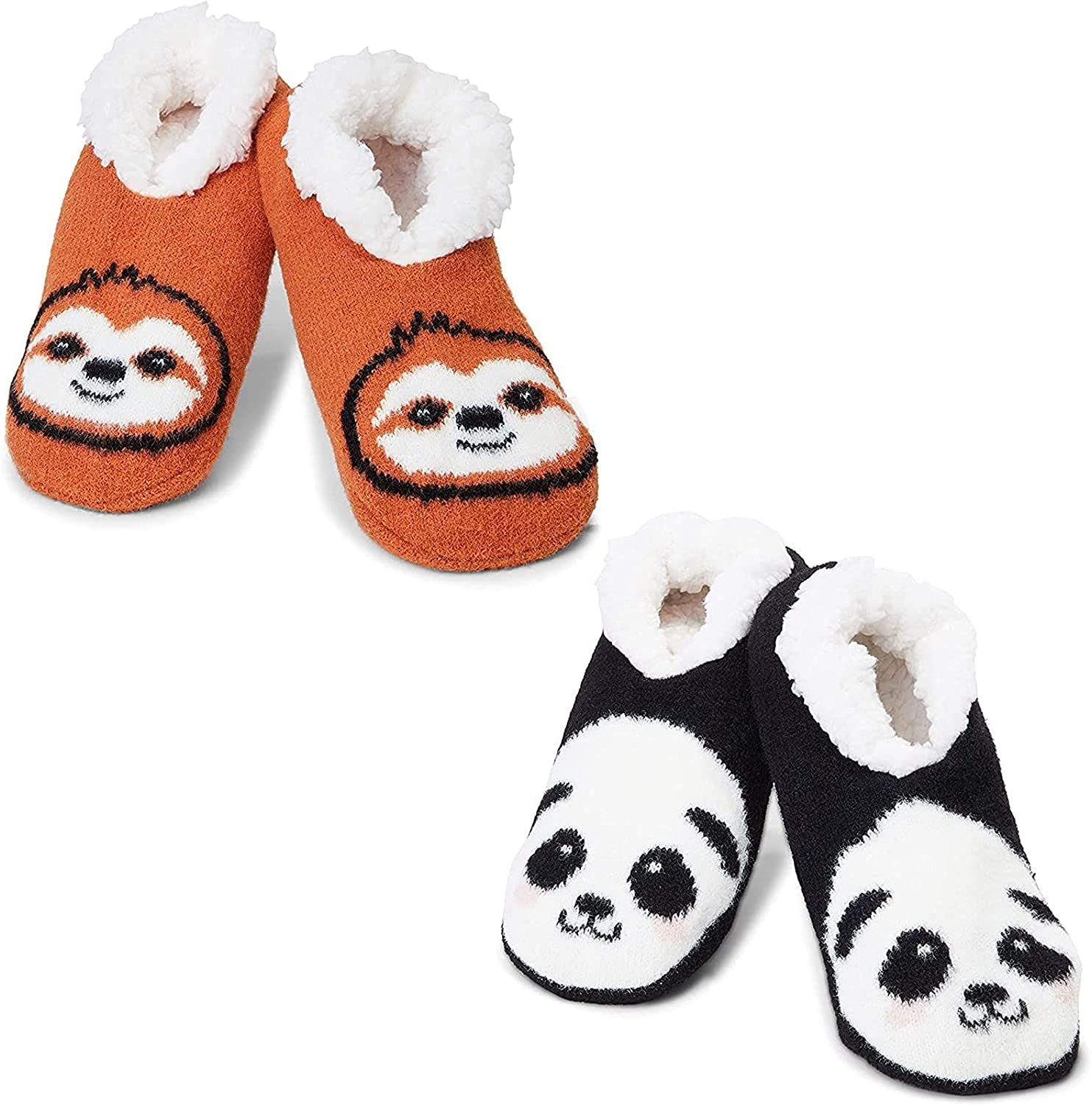 Faux Fur Lined Sloth and Panda Slipper Socks (2 Pairs, Size Large)