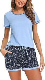 Hawiton Pijama Mujer Verano Manga Corta Algodon Sexy Pijamas Mujer Talla Grande Ropa para Dormir con Top y Pantalon 2 Piezas