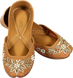 JOPELLE A Leather of Golden Leaf Handcrafted Leather Hand-Embroidered Brown Punjabi Juttis Mojari for Women
