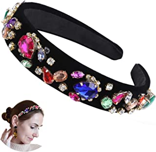 Crystal Rhinestone Wide-edge Headband for Women Hair Hoops Hair Accessories for Girls 5 styles Hair Band (One size, Style 4)