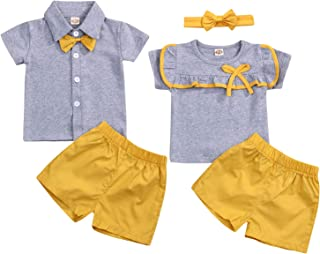 YOUNGER TREE Baby Boy Girl Brother and Sister Matching Outfits Short Sleeve Tops + Shorts Set - Grey - 18-24 Months