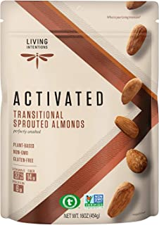 Living Intentions Sprouted Transitional Almonds - NonGMO - Gluten Free - Vegan - Paleo - Kosher - 16 Oz