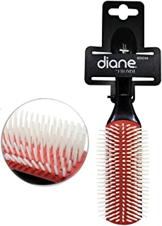 Diane 9-Row Professional Styling Brush Detangler, Denman Cushion Nylon Bristles.