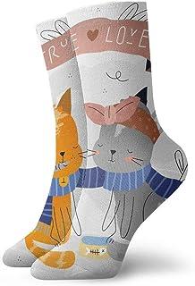 tyui7, Cute Cat True Love Couple Calcetines de compresión antideslizantes Cozy Athletic 30cm Crew Calcetines para hombres, mujeres, niños