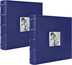 Betco Photo Album Leatherette Book Bound Bamboo 400 Pages, 2 Pack Each Album 200 (Blue Color)