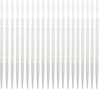 LBY Plastic toothpicks Brush and Flat Rhombus Double-Ended Toothpick Teeth Cleaning Tool White Combination 500 Pcs