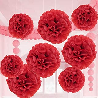 Valentine Red Tissue Paper Flower Pom Pom Balls.12 and 14 Inch Holiday Party Favor Flower Balls Hanging Decor Party Decoration. 8 Pack. Great DIY Kit For Parties,Birthdays,Weddings,Bridal Showers Etc.
