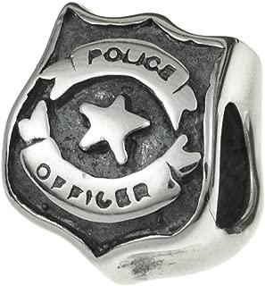 Dreambell 925 Sterling Silver Serve Protect Police Officer Badge Emblem Bead For European Charm Bracelet