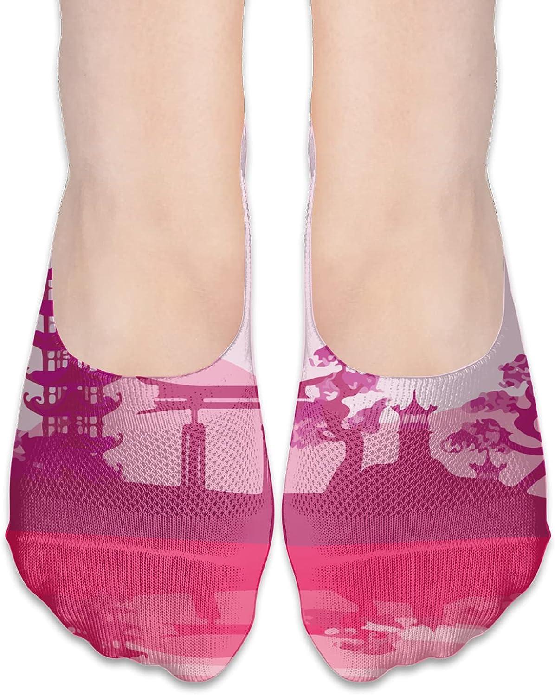 No Show Socks Women Men For Watercolor Japanese Temple Pink Flats Cotton Ultra Low Cut Liner Socks Non Slip