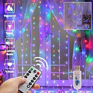 Colorful Curtain Lights String Lights 300 LED USB Powered Flashing Twinkle Lights for Christmas 9.89.8Ft Curtain Lights for Bedroom Wall Decoration