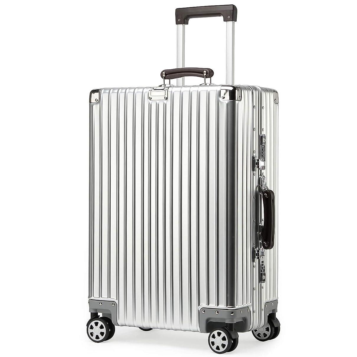 kroeus(クロース)スーツケース キャリーケース アルミ合金ボディ レザー調持ち手 復古スタイル TSAロック搭載 フレームタイプ 1年間保証サービス