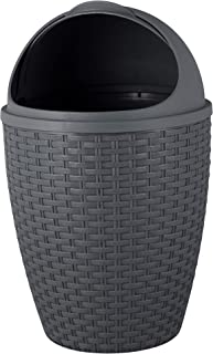 Superio Round Small Trash Can with Roll Up Lid 7.5 Qt. Charcoal Gray, Compact Wicker Trash Bin for Bathroom, Office