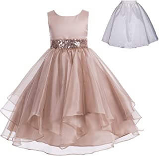 Wedding Ruffles Organza Flower Girl Dress Sequin Toddler Pageant Free Petticoat 012s