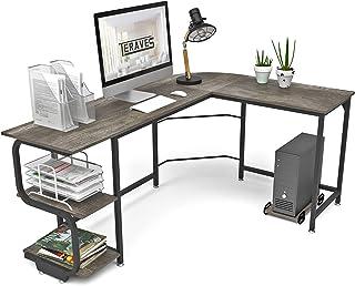 Teraves Reversible L Shaped Desk with Shelves Round Corner Computer Desk Gaming Table Workstation...